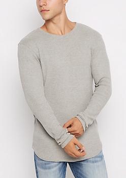 Gray Long Length Thermal Top