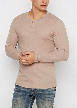 Sand Thermal Henley Top