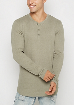 Olive Long Length Thermal Henley Top