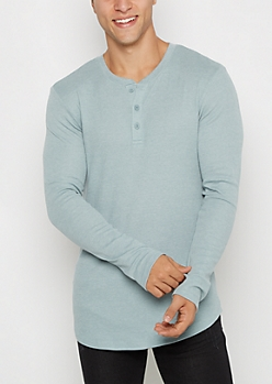 Light Blue Long Length Thermal Henley Top
