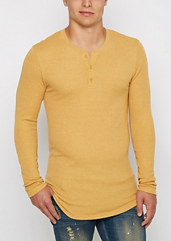 Mustard Long Length Thermal Henley Top