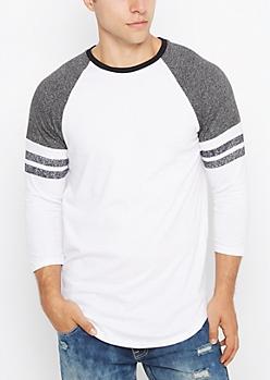 Black & White Striped Marled Baseball Tee