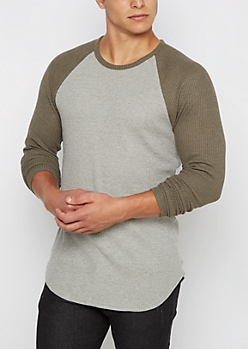 Olive Thermal Long Length Raglan Top