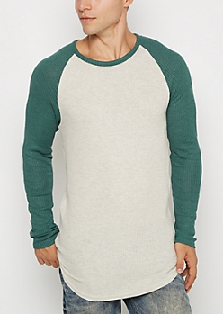Teal Thermal Long Length Raglan Top