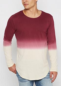 Burgundy Dip Dye Long Length Top