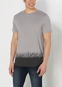 Gray Paint Dipped Long Length Tee
