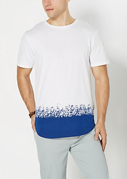 Blue Paint Dipped Long Length Tee