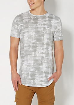 Gray Cloud Washed Long Length Tee