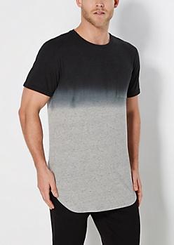 Black Speckled Ombre Long Length Tee