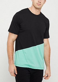 Black & Turquoise Color Block Tee