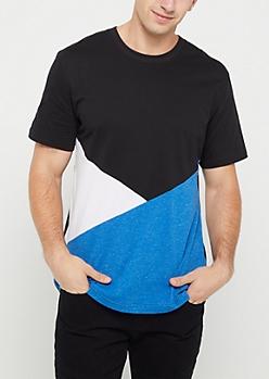 Blue Tricolor Color Block Tee