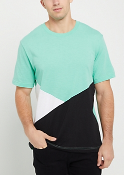 Turquoise Tricolor Color Block Tee