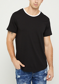 Black Short Sleeve Ringer Tee