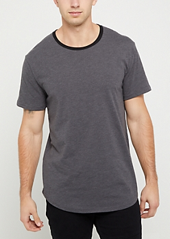 Gray Short Sleeve Ringer Tee