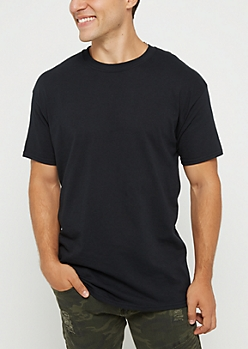 Black Jersey Knit Short Sleeve Tee