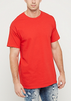 Red Jersey Knit Short Sleeve Tee