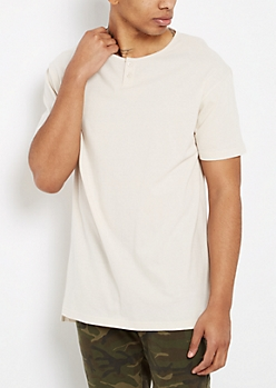 Stone 2-Button Henley Tee