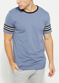 Gray Contrast Stripe Short Sleeve Tee