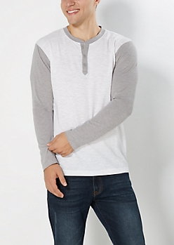 White Blocked Slub Knit Henley Top