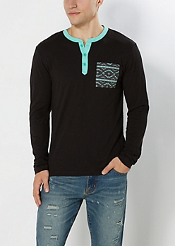 Mint & Black Aztec Pocket Henley