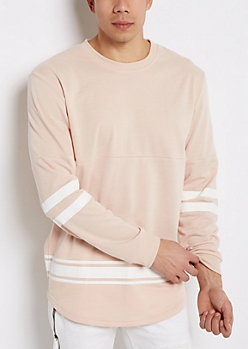 Pink Space Dyed Football Sweatshirt