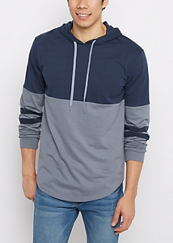 Navy Striped Sleeve Blocked Football Hoodie