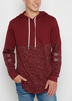 Burgundy Striped Sleeve Space Dyed Football Hoodie