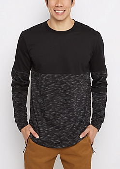 Black Space Dyed Blocked Football Sweatshirt
