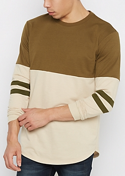 Olive Color Blocked Football Sweatshirt