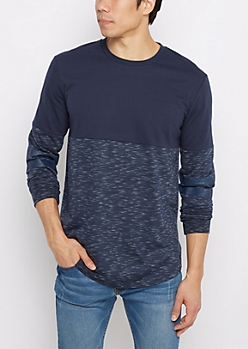 Navy Space Dyed Blocked Football Sweatshirt
