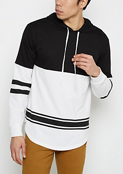 Black & White Striped Hem Blocked Football Hoodie