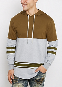 Olive Striped Hem Blocked Football Hoodie