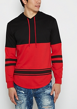 Red Striped Hem Blocked Football Hoodie