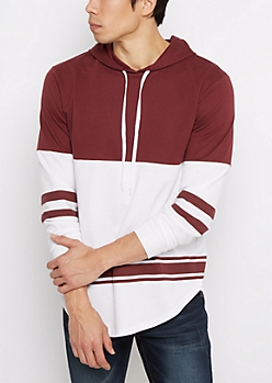 Burgundy Striped Hem Blocked Football Hoodie