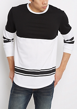 Black & White Ringer Football Sweatshirt