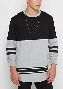 Black & Gray Ringer Football Sweatshirt