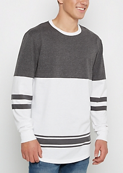 Gray & White Ringer Football Sweatshirt