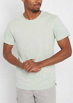 Light Green Raw Edge Tee