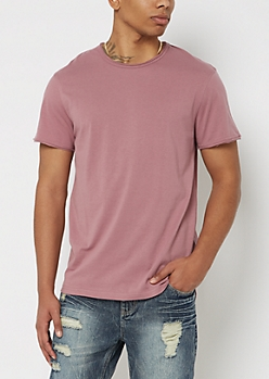 Dark Pink Raw Edge Tee