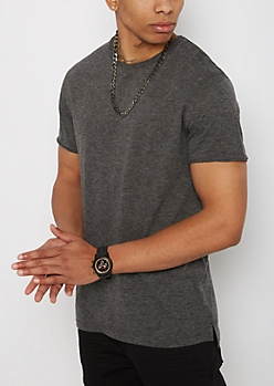 Black Streak Raw Edge Tee