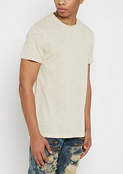 Oatmeal Streak Raw Edge Tee
