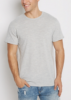 Gray Streak Raw Edge Tee