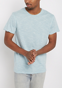 Light Blue Streak Raw Edge Tee