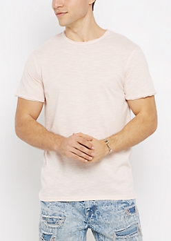 Pink Streak Raw Edge Tee