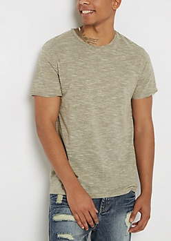 Olive Streak Raw Edge Tee