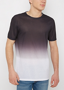 Black & Gray Ombre Raw Edge Tee