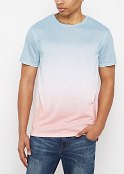 Faded Red & Blue Ombre Raw Edge Tee