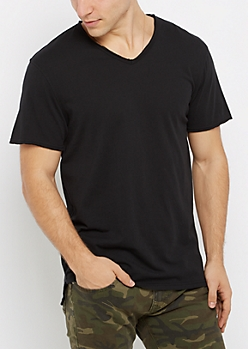 Black V-Neck Raw Edge Essential Tee