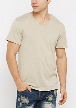 Oatmeal V-Neck Raw Edge Essential Tee