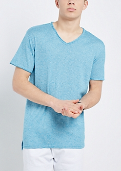 Turquoise V-Neck Raw Edge Essential Tee